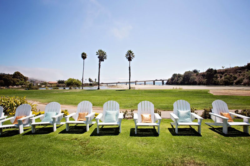 Lounge chairs wait to be lounged in at Avila Beach Golf Resort