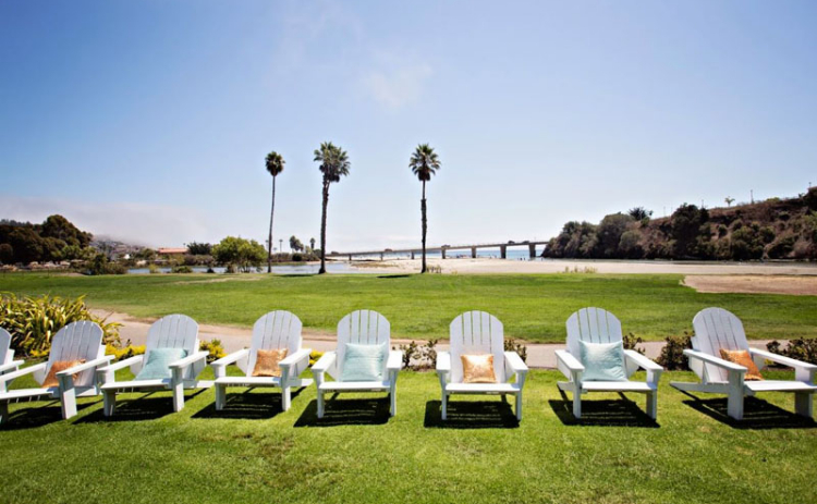 Lawn chairs sit in the sun at Avila Beach Golf Resort